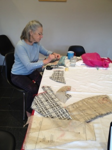 Kaye making a tailored jacket in black and white extured wool