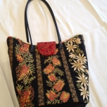 Back of Leesa Chandler fabric bag