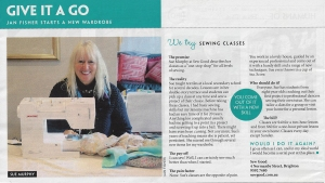 Melbourne sewing classes at Sew Good. Review in The Weekly Review by Jan Fisher
